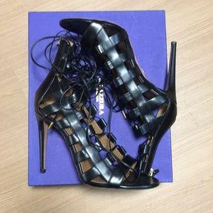 Aquazzura Shoes - Aquazzura, Amazon 105, sandal heel, black leather